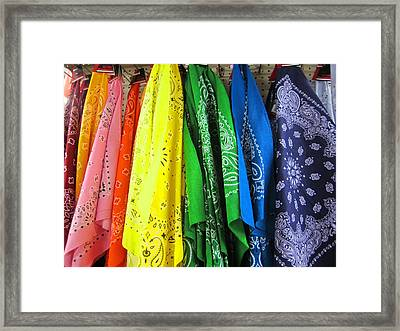 Rainbow Full Of Bandanas Framed Print by Kym Backland