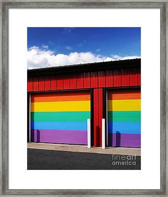Rainbow Garage Framed Print
