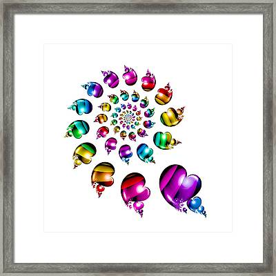 Rainbow Heart Wheel On White Framed Print by Pam Blackstone