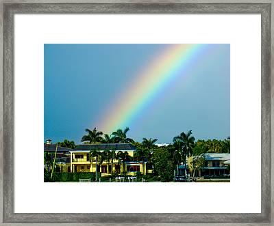 Rainbow In Naples Framed Print by Dennis Dugan