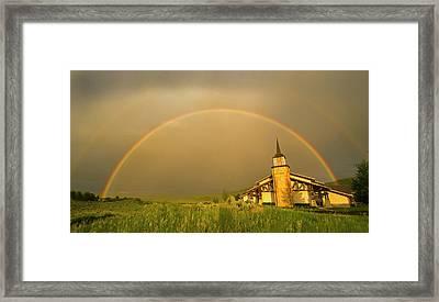 Rainbow In Stormy Sky Framed Print by Tom Kelly Photo
