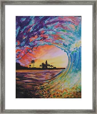 Rainbow Jawz Wave Framed Print by Anne Provost
