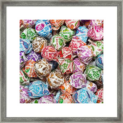 Rainbow Lollipops Square Framed Print by Andee Design