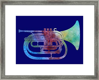 Rainbow Marching French Horn Framed Print by Jenny Armitage