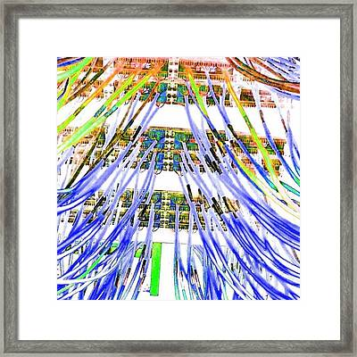 Rainbow Matrix - Wired Techno Art Framed Print