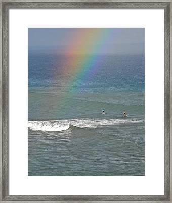 Rainbow Mists And Surfing Too Framed Print by Kirsten Giving