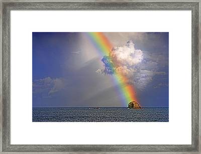 Framed Print featuring the photograph Rainbow On Birdrock- St Lucia. by Chester Williams
