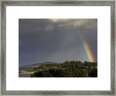 Rainbow Over Carmel Framed Print by Mike Herdering