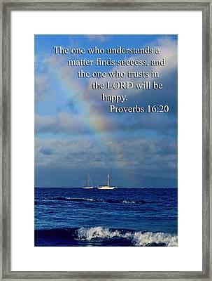 Rainbow Over Deep Blue Sea Pro. 16v20 Framed Print by Linda Phelps