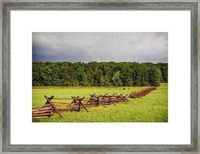 Rainbow Over Gettysburg Framed Print by Jen Morrison