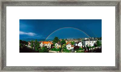 Rainbow Over Housing, Monkstown, Co Framed Print by The Irish Image Collection
