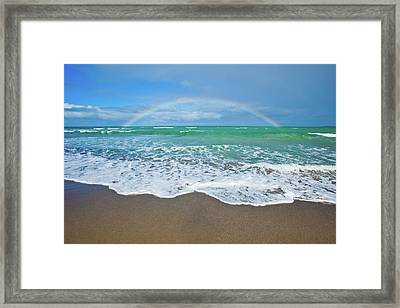 Rainbow Over Ocean Framed Print by John White Photos
