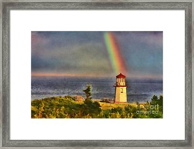 Rainbow Over The Lighthouse In Perce Quebec Framed Print by Mary Warner