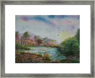 Rainbow Pond Framed Print
