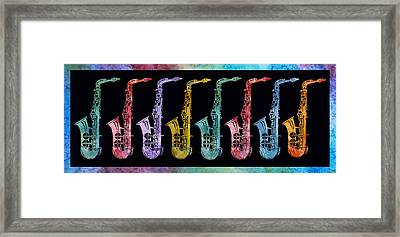 Rainbow Saxophones  Framed Print by Jenny Armitage
