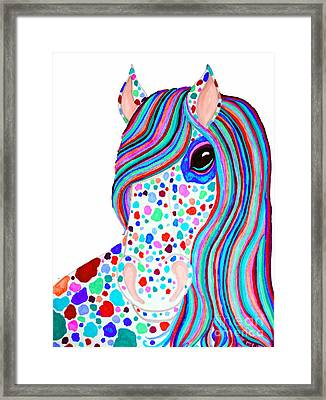 Rainbow Spotted Horse 2 Framed Print by Nick Gustafson