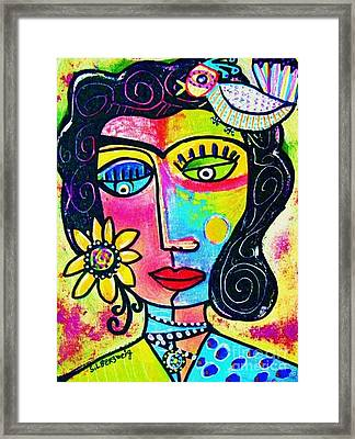 Rainbow Sunshine Frida Framed Print