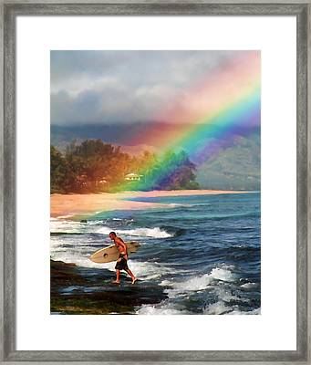 Rainbow Surfer Framed Print
