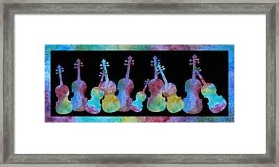 Rainbow Washed Violins Framed Print