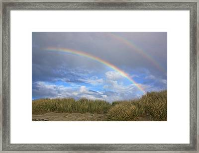 Rainbows Over The Sand Framed Print by Tyra  OBryant