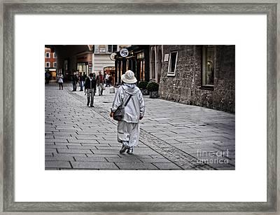 Rainwear In Salzburg Framed Print by Mary Machare