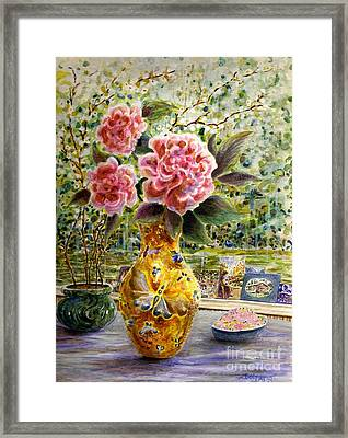 Framed Print featuring the painting Rainy Afternoon Joy by Dee Davis