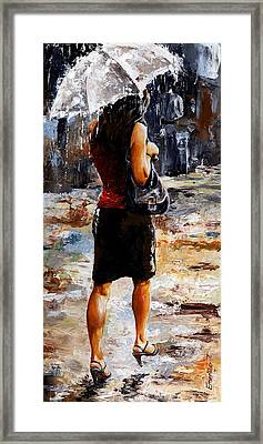 Rainy Day - Woman Of New York 04 Framed Print by Emerico Imre Toth