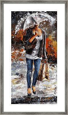 Rainy Day - Woman Of New York 06 Framed Print by Emerico Imre Toth