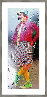 Rainy Day Clown 2 Framed Print by Steve Ohlsen