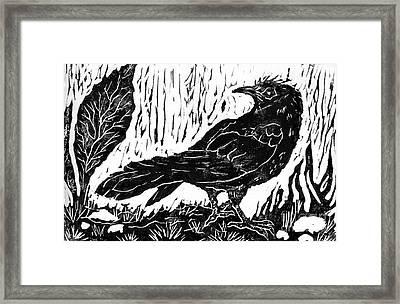 Rainy Day Crow Framed Print by Ellen Miffitt