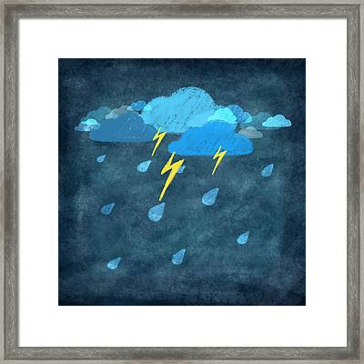 Rainy Day With Storm And Thunder Framed Print