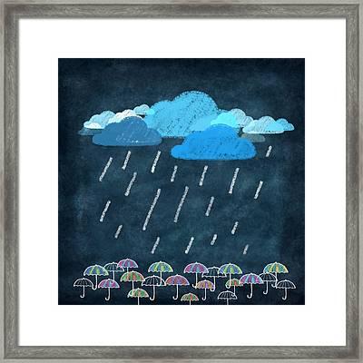Rainy Day With Umbrella Framed Print by Setsiri Silapasuwanchai