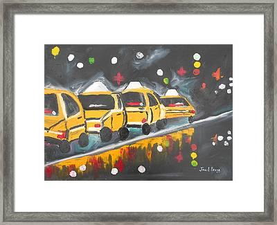 Rainy Park Avenue Second Version Framed Print by Janel Bragg
