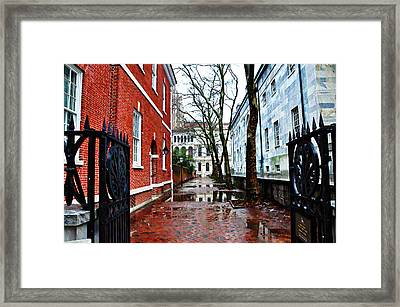 Rainy Philadelphia Alley Framed Print by Bill Cannon