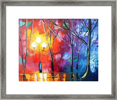 Rainy Rendezvous Framed Print by Jessilyn Park