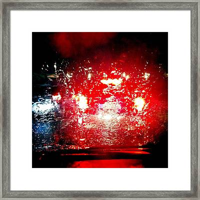 Rainy Window - Red Abstract Framed Print by Matthias Hauser