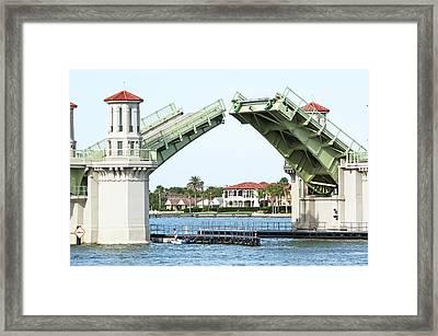Raised Bridge Framed Print by Kenneth Albin