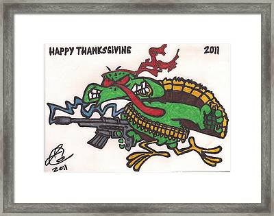 Framed Print featuring the drawing Rambo Turkey by Jeremiah Colley
