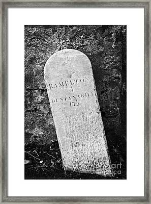 Ramelton Dunfanaghy Old Country Milestone Showing Distance In Irish Miles County Donegal Framed Print