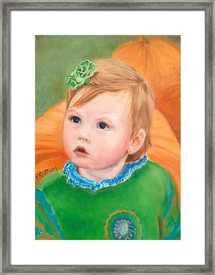 Ramey Kate In The Pumpkin Patch Framed Print by Pamela Ramey Tatum