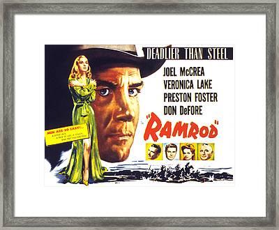 Ramrod, Joel Mccrea, Veronica Lake Framed Print