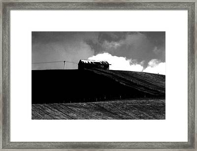 Ranch Building And Clouds Framed Print by Noel Elliot