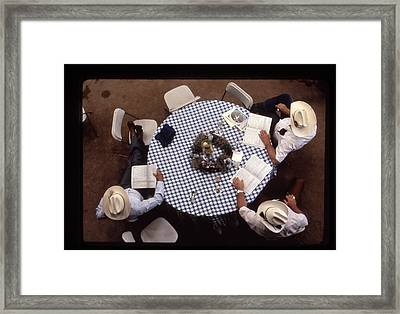 Ranchers At The Round Table Framed Print