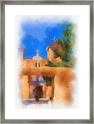 Ranchos Church Gate - Aquarell Framed Print by Charles Muhle