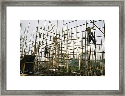 Rare Bamboo Scaffolding Used In Hong Framed Print by Justin Guariglia