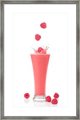 Raspberry And Strawberry Smoothie Framed Print by Amanda Elwell