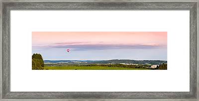 Raspberry Ripple Hot Air Balloon Over Presque Isle Framed Print by Aaron Priest