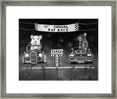 Rat Race Black And Wht Darker Tones Framed Print by Leah Saulnier The Painting Maniac