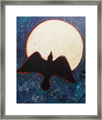 Raven And Bright Moon Framed Print by Carol Suzanne Niebuhr