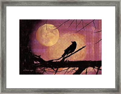 Raven And The October Moon Framed Print by Arline Wagner